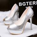 2016 New Summer Pumps Office High-heeled Shoes Peep Toe Thin Heel Platform Metal Club Sexy Women Sandals High Heel Sandal G2588