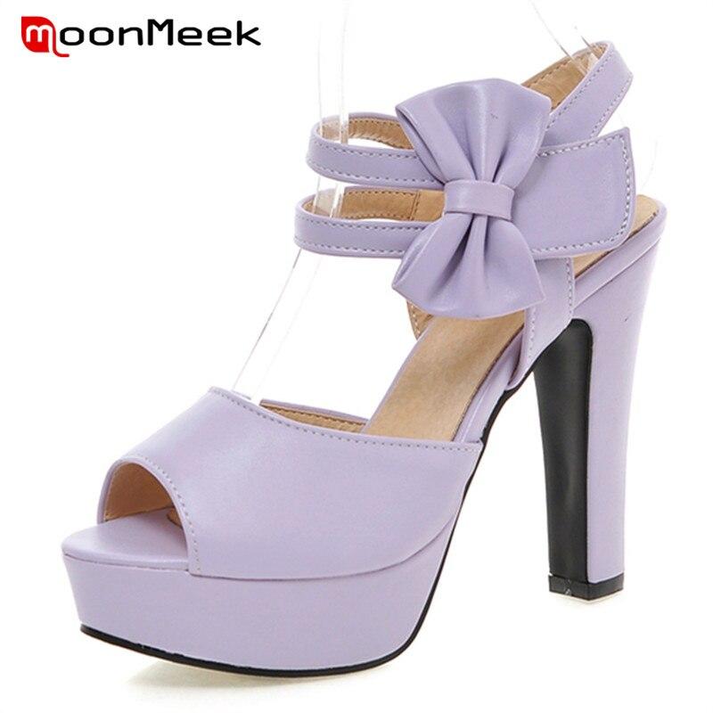 MoonMeek Sweet fashion women <font><b>sandals</b></font> summer <font><b>shoes</b></font> big size 33-47 high heels <font><b>shoes</b></font> cover heel party <font><b>shoes</b></font> wedding