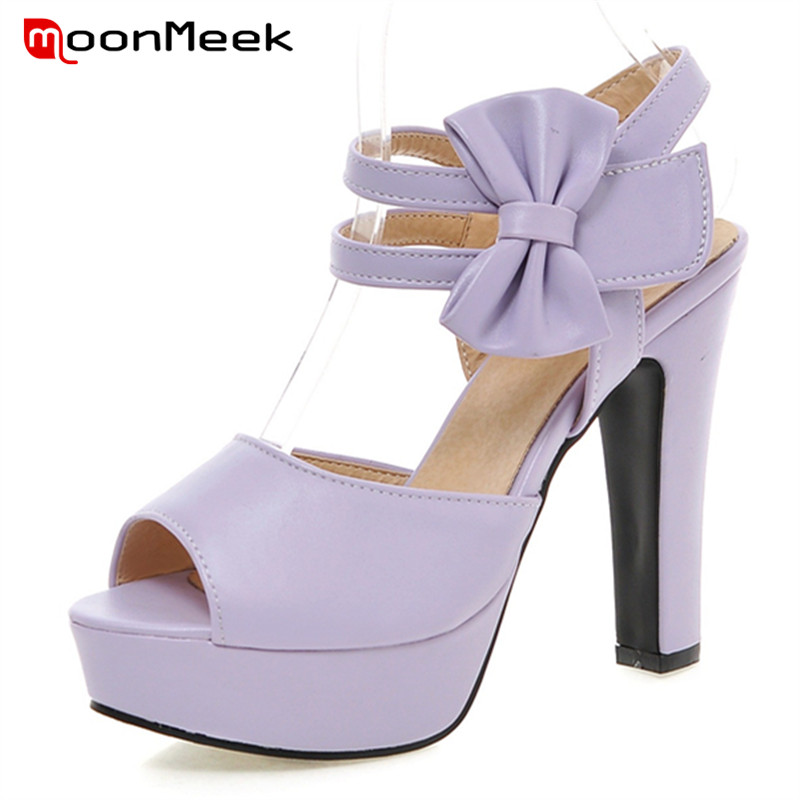 MoonMeek Sweet fashion women sandals summer shoes big size 33-47 high heels shoes cover heel party shoes wedding free shipping 2017 summer fashion women s full grain leather party sandals high heel sweet cover heel handmade shoes for women