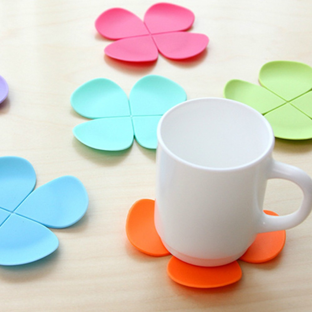 100pcs Mixed Colors Flower Petal Shape Cup Coaster Tea Coffee Mat Table Decor Durable