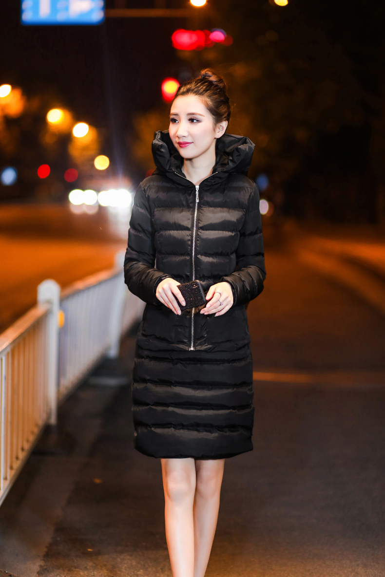 SexeMara Real Shot 2018 Winter New Down Cotton Suit Fashion Suit Female Small Fresh Warm Hooded Two-Piece Elegant Dress (11)