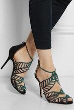 Sandales Sommer Heiße Frauen Sandale Plus Größe Strass 2015 Damen Schuhe Kristall Covered Zurück Zipper Dünne High Heels sandali