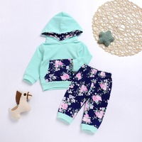 Autumn Newborn Baby Boys Girls Floral Hoodie Pants Kids Clothes Set Winter Warm Toddler Outerwear Tracksuits