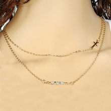 Simple New Cross Hand Beaded Crystal Double Layer Short Necklace high quanlity women gift drop shipping @2(China)