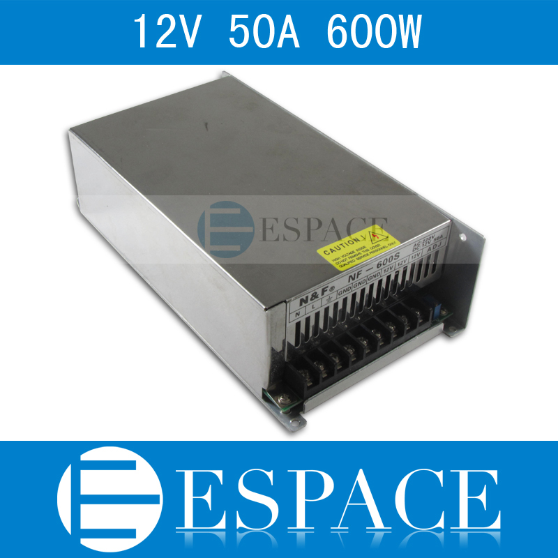 Best quality 12V 50A 600W Switching Power Supply Driver for LED Strip AC 200-240V Input to DC 12V free shipping