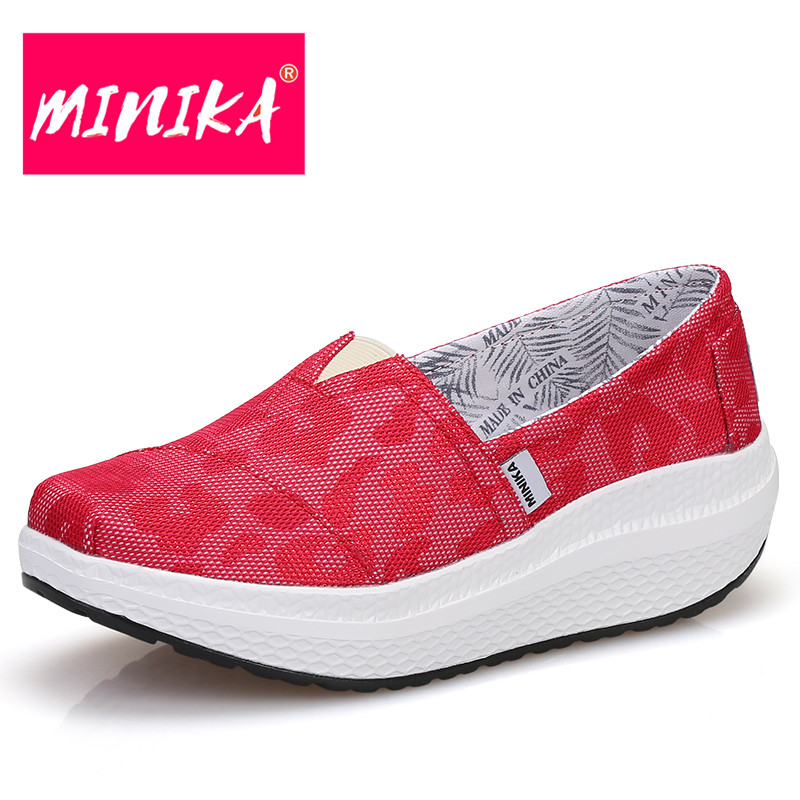MINIKA Sex Red Flat Shoes Women Thick Bottom Swing Loafers Women Non-slip Durable Outsole Platform Shoes Women Slip on Shoes