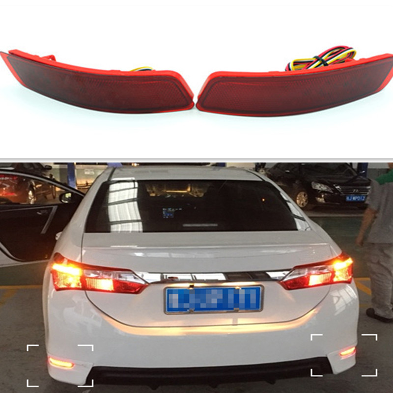 Backup Tail Rear Bumper Lamp LED Reflector Stop Brake Light Fog Lamp For Toyota Corolla 2014 new for toyota altis corolla 2014 led rear bumper light brake light reflector novel design top quality fast shipping