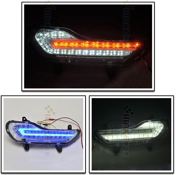 led drl daytime running light for ford escape kuga Maverick with yellow turn signals and blue night running light for ford fusion 2013 16 guiding light daytime running lights drl turn signals 2x