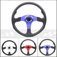 무료 배송 유니버설 14 인치 350MM 알루미늄 + PU 스포츠 스티어링 휠 레이싱 타입 volante 2 색 빨강 파랑