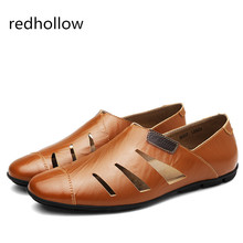 все цены на 2019 Men Casual Shoes Real Leather Summer Breathable Holes Flat Shoes for Men Sandals Driving Shoes Slip on Loafers Plus Size 47 онлайн