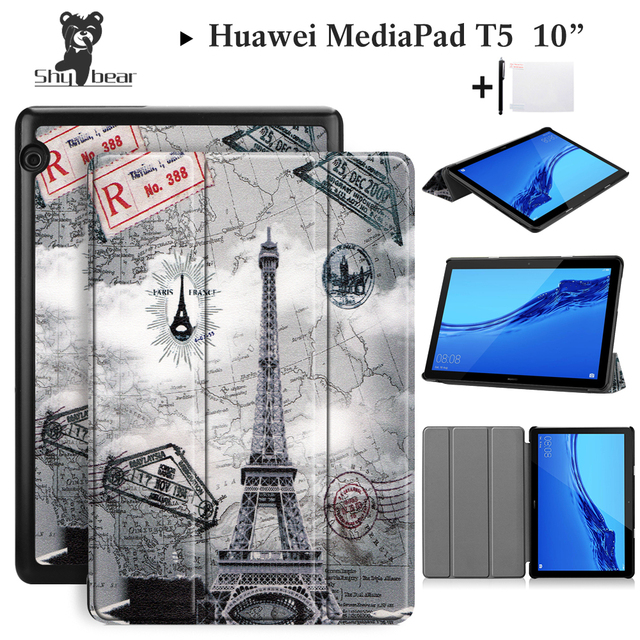 check out 5f57e 2ff14 US $13.27 |Shy Bear Case For Huawei MediaPad T5 10'' Case for Huawei T5 10  inch AGS2 W09/L09/L03/W19 Folding Stand Tablet 10.1