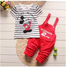 Boys Girls' Fashion Suits 100% Cotton 2017 Shortsleeve Minnie Mouse T-shirts+Pants 2PCS Set Toddler Sets Baby Clothes Kids Wear