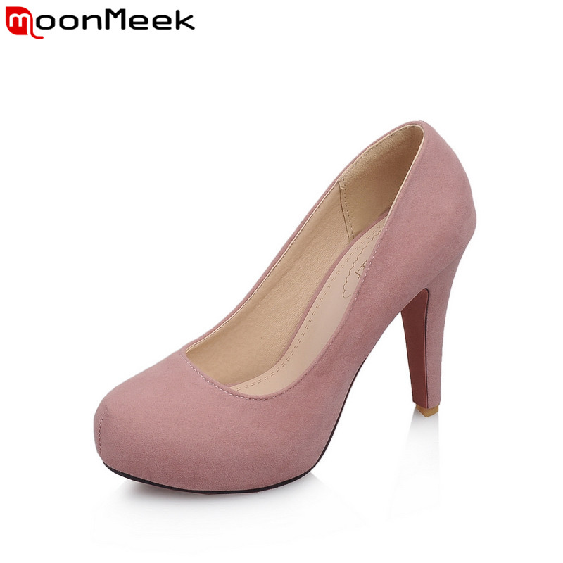 MoonMeek  spring autumn female shoes platform shoes extreme high heels slip on round toe shallow pumps women shoes coolcept female bowtie restore ancient ways slip on platform mid heels women s fashion style casual spring autumn lolita shoes