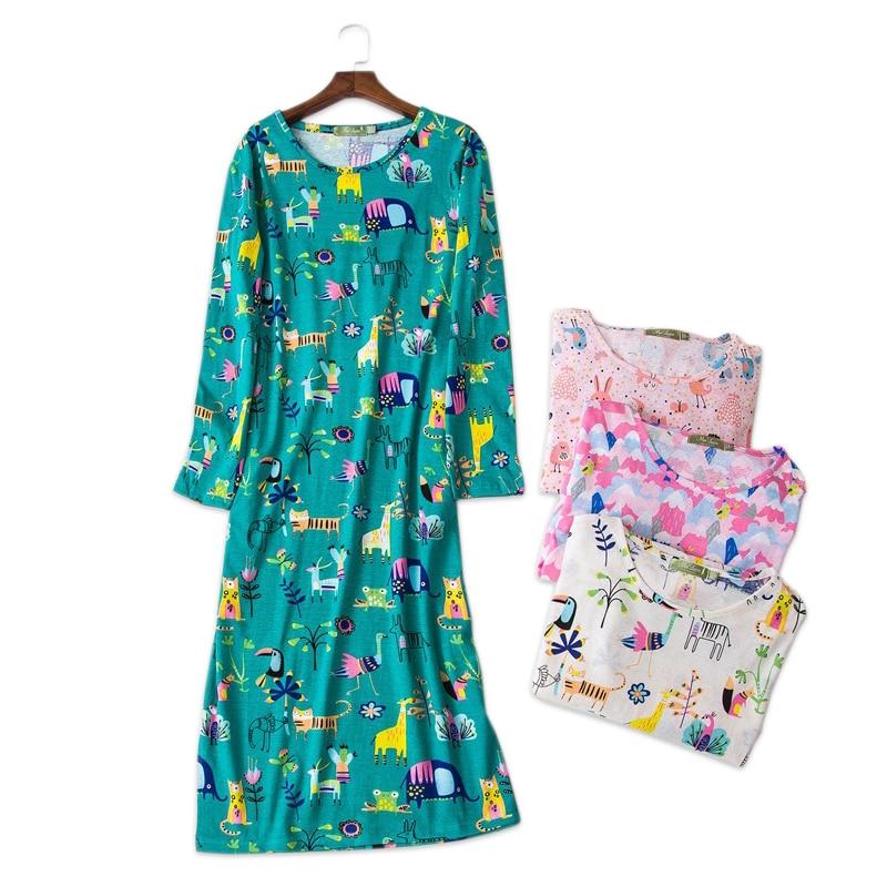 lovely cartoon sleep dress women 100% cotton long-sleeved autumn   sleepshirts   women nightdress long   nightgown   plus size