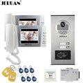 JERUAN 4 3 zoll LCD Video türsprechanlage Türklingel Intercom System 2 Monitor RFID Access Kamera für 2 Haushalts Wohnung In lager-in Videosprechanlage aus Sicherheit und Schutz bei