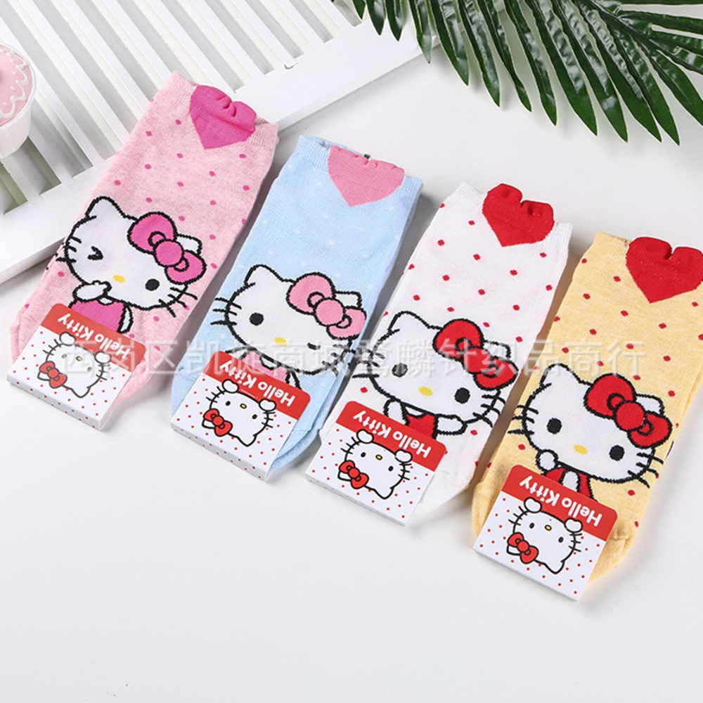 d06059d8f Hello Kitty cartoon cos socks casual funny cute happy women spring summer  Korean comfort sweat absorbent