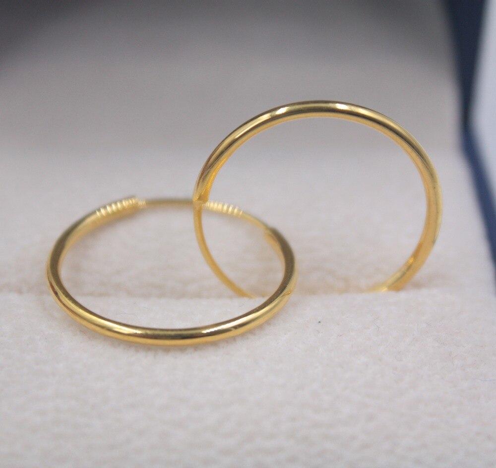 Véritable 18 K or jaune grand cerceau boucles d'oreilles ensemble AU750 lisse mode femmes cadeau mignon boucles d'oreilles 1.8-2.0g bijoux de tous les jours meilleur cadeau