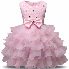 Summer Newborn Baby Girl Dresses Pearls Bow Multilayered luxurious Dress Christening Gown Baby Tutu Dress 0-2 Years Infant Kids