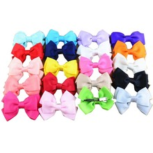 "90pcs/lot 3"" Boutique Kids Ribbon Hair Bows Metal Clips Hair pins Girl's Bowknot Headdress Hair accessories for Girls"