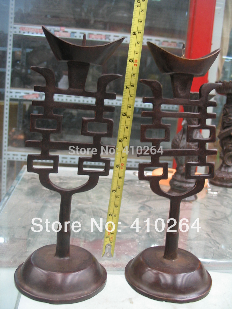 $old craft$ a pair Double pleased candle candlestick bronze statue (A0314)$old craft$ a pair Double pleased candle candlestick bronze statue (A0314)