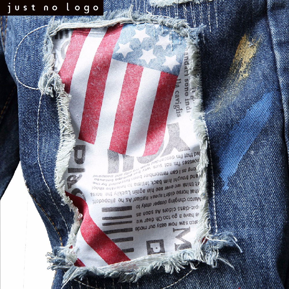 b57b846c48c5 ... Mens Light Blue Skinny Ripped Jeans Straight American Flag Pattern  Patched Slim Fit Denim Pants for ...