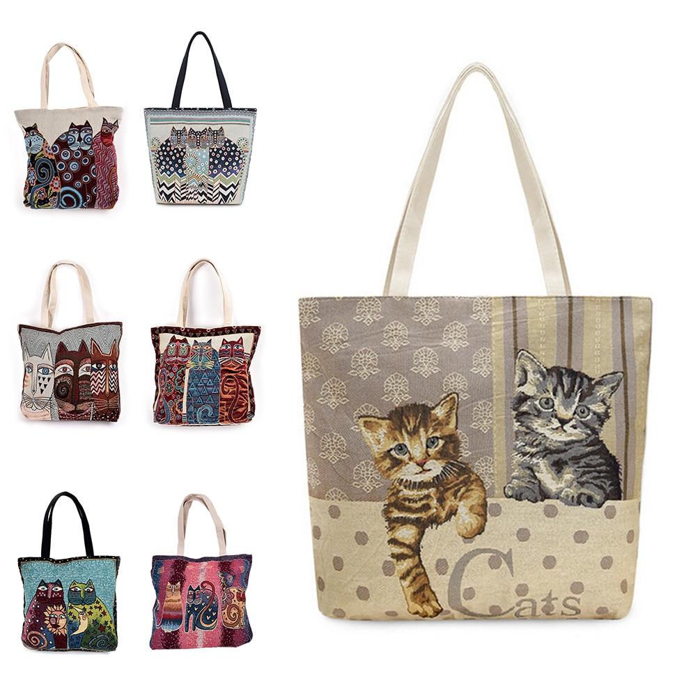 Vintage Embroidery Cats Clutch Handbag Bag Canvas Shoulder Bag Shopping Bag Travel Summer Beach Girls