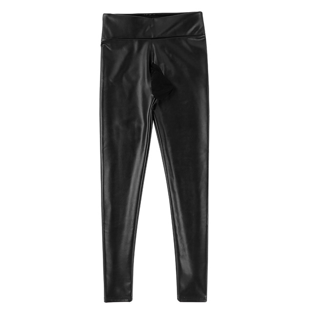 Mens Clothing Sexy Pants Male Wetlook Jockstraps PU Leather Thin Velvet Lining Bulge Pouch Pants Leggings Muscle Tights Pants 3