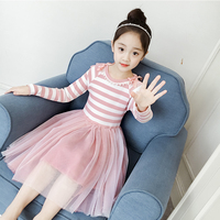 2019 Spring Summer Cute Toddler Kid Girl Long Sleeve Stripe Party Princess Pageant Dress Casual Girls Clothes Children