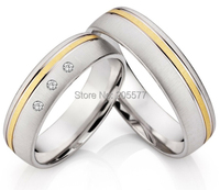 Classic Handmade His and Hers Gold Plating Inlay Titanium Wedding Engagement lovers ring in white gold color