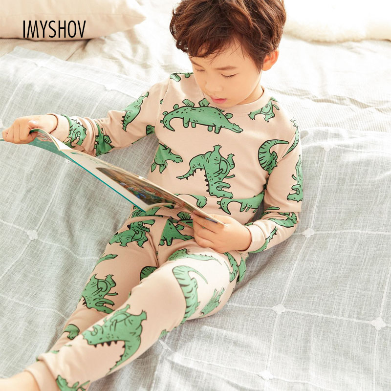 2019 Autumn Winter Children Dinosaur Cartoon Pajamas For Boys Sleepwear Kids Pajamas Long Sleeve Cotton Toddler Baby Boy Pyjamas-in Pajama Sets from Mother & Kids