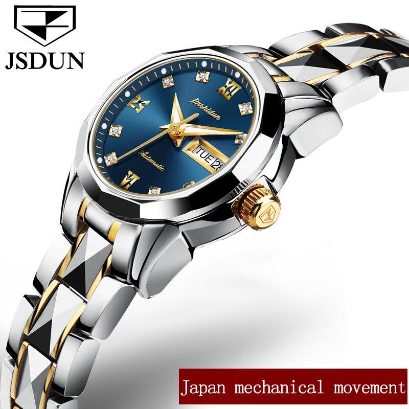 JSDUN zegarki mechaniczne kobiet wzrosła złoty zegarek automatyczny mechaniczny panie zegarki wodoodporna samonakręcający zegar ze stali nierdzewnej w Zegarki damskie od Zegarki na  Grupa 2