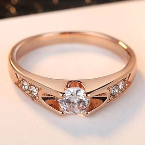 Rose Gold Color Assembly Anel Feminino Bijoux Aneis 0.5 Ct Engagement Ring Zirconia Jewelry Rings(China)