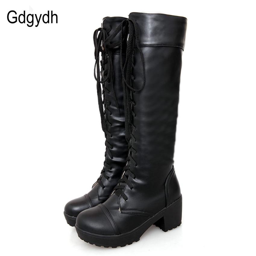 Gdgydh Grande Taille 43 Dentelle Up Genou Haute Bottes Femmes Automne En Cuir souple Mode Blanc Carré Talon Femme Chaussures D'hiver Vente Chaude