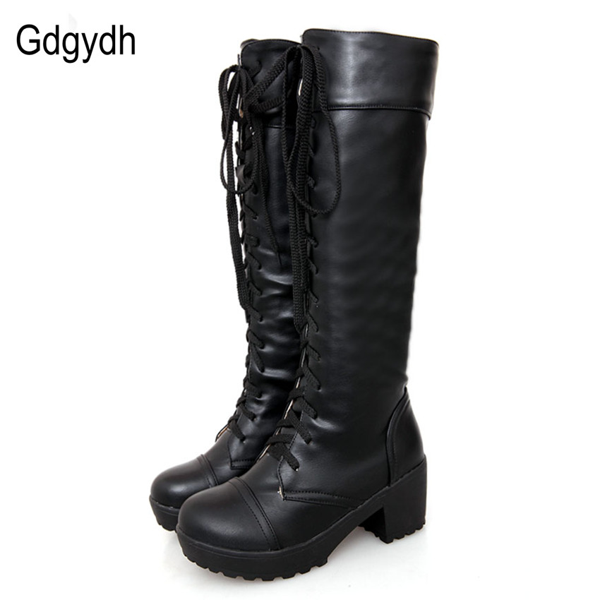 Gdgydh Large Size 43 Lace Up Knee High Boots Women Autumn Soft Leather Fashion White Square Heel Woman Shoes Winter Hot Sale new women sexy lace up knee high boots high square heels women boots winter snow boots casual shoes woman large size 34 46