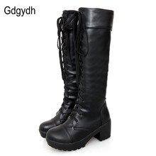 Gdgydh/большой размер 43, женские сапоги до колена на шнуровке, осенняя женская обувь из мягкой кожи, модная белая женская обувь на квадратном каблуке, лидер продаж