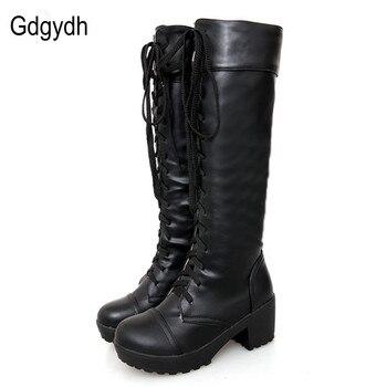 Gdgydh talla grande 43 botas altas hasta la rodilla otoño suave cuero moda blanco Tacón cuadrado Mujer Zapatos invierno oferta