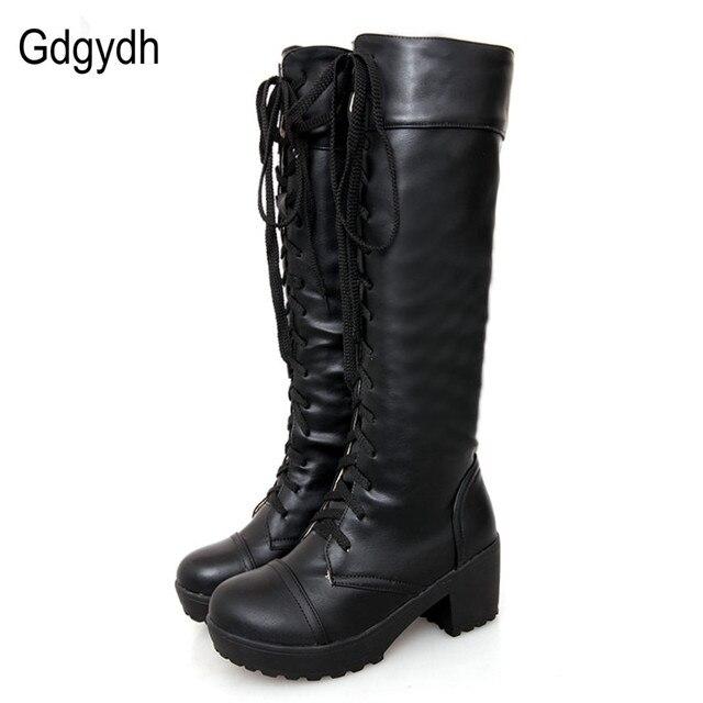 29c85c20 Gdgydh talla grande 43 botas altas hasta la rodilla otoño suave cuero moda  blanco Tacón cuadrado