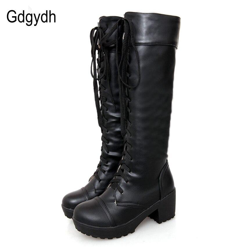 Gdgydh tamaño grande 43 Encaje up rodilla Botas mujeres otoño suave cuero moda blanco cuadrado tacón Mujer Zapatos invierno venta caliente