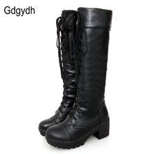 Gdgydh-Botas de piel suave con cordones hasta la rodilla para mujer, zapatos femeninos de tacón cuadrado blanco, a la moda, de gran oferta, para otoño