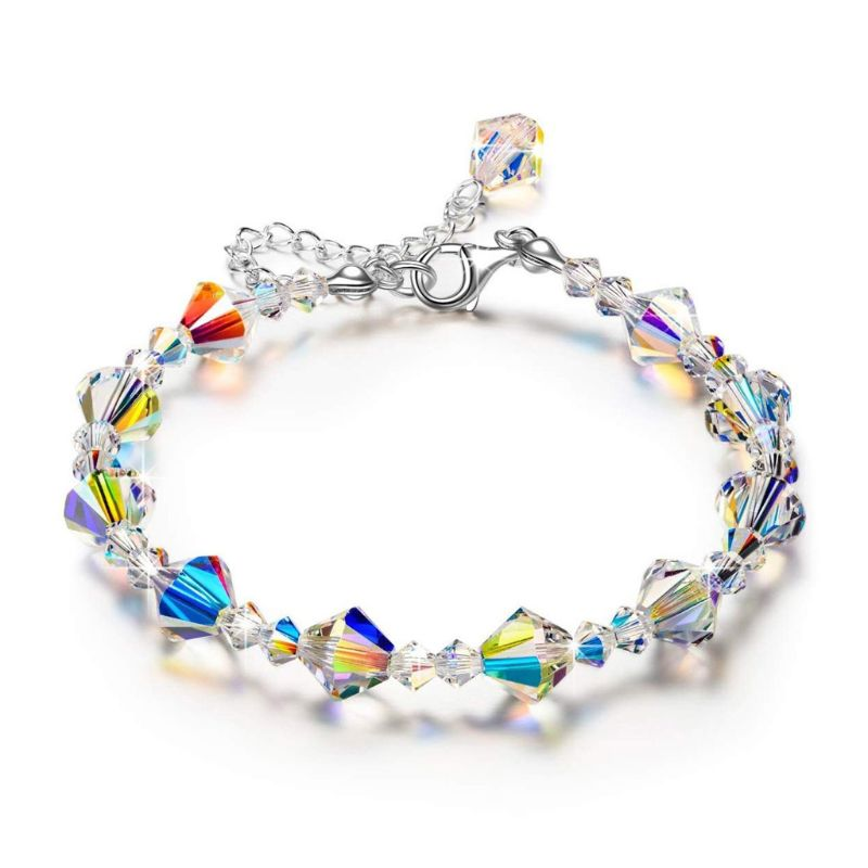 Sparkling Aurora Crystals Link Chain Stretch Bracelet Women Fashion Jewelry Gift in Charm Bracelets from Jewelry Accessories
