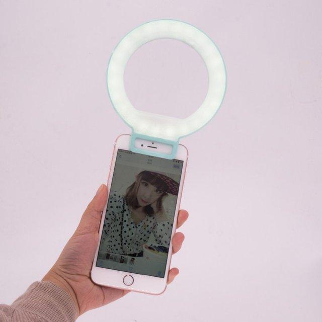 De las nuevas mujeres de ojos encanto anillo flash selfie luz led para iphone 6 6 s plus para el teléfono móvil elegante