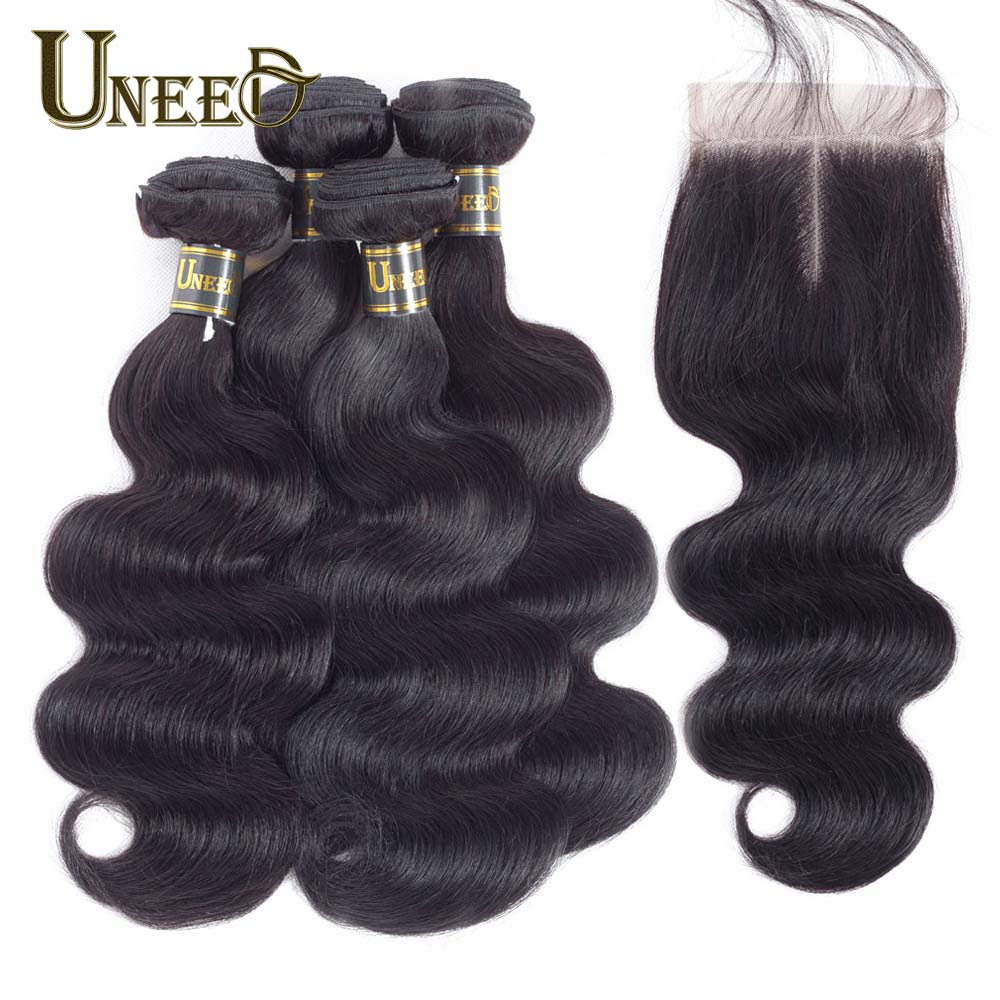 Uneed Hair 3 4 Bundles Malaysian Body Wave With Closure 100 Human Hair Bundles With Lace