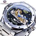 Forsining Ponte de Ouro Relógio Mecânico Dos Homens Mão Azul Caso Presente do Amante Da Moda Cinta de Aço Inoxidável Relógio Automático Transparente