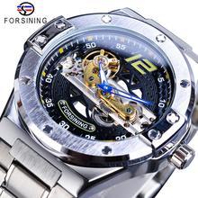 Forsining גשר זהב מכאני שעון גברים כחול יד אוטומטי שקוף מקרה נירוסטה רצועת אופנה מאהב מתנת שעון