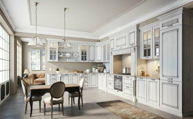 Weiß massivholz küchenschränke mit schöne stuckverzierungen ...