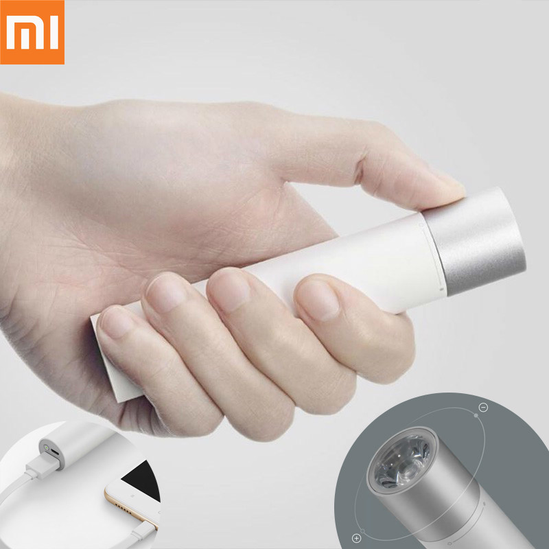Original Xiaomi Power Bank Portable Flashlight Adjustable Luminance 3350mAh Lithium Battery USBCharging Port Mobile Power