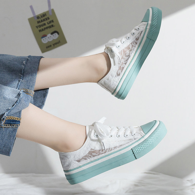 Summer Sneakers Women 2019 New Lace Shoes Girls Flat Heel Low Top Breathable Sneakers Sweet Princess Shoes White Lace 35-40