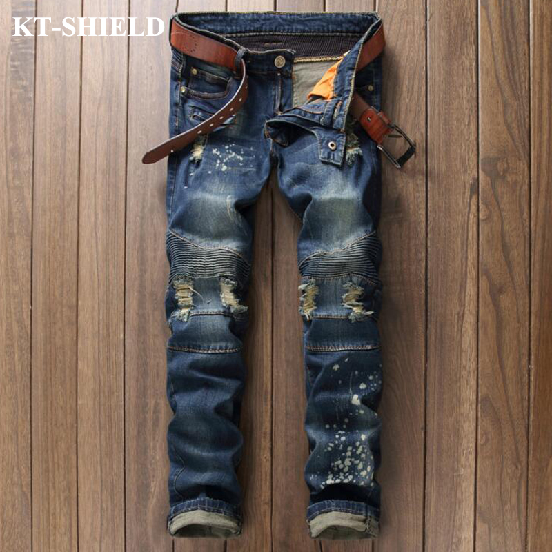 High Quality Fashion Jeans Men Ripped Men s Biker Denim Pants Straight Slim fit Trousers Male