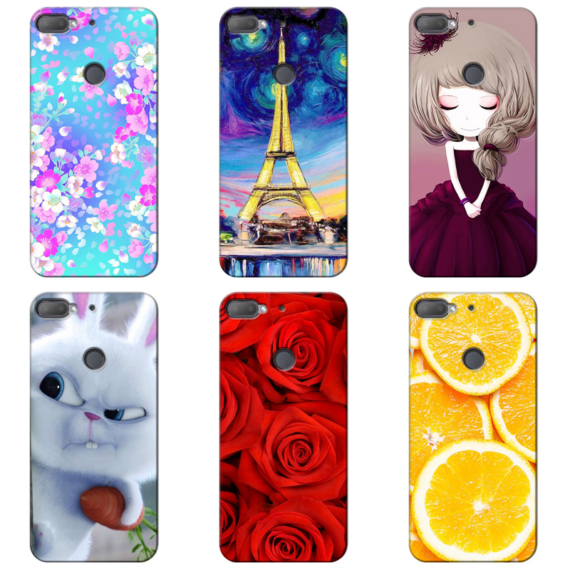 Original Colorful Mobile Phone Cases Cover for HTC Desire 12 Plus Full Protective Back Covers Soft TPU Capa Printed Case