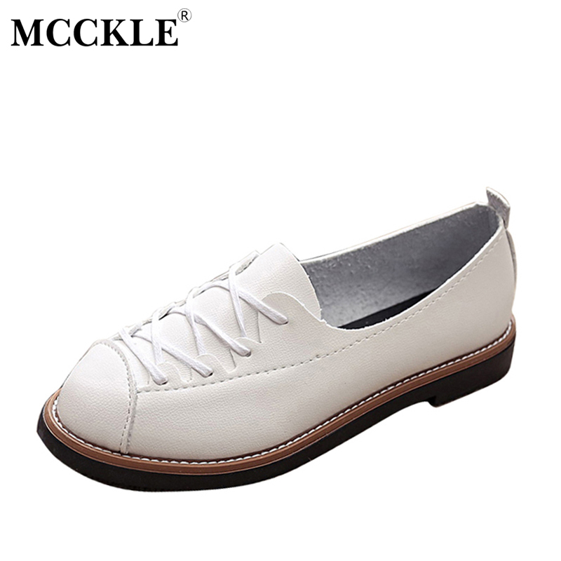 MCCKLE Women Round Toe Shoes Fashion Low Heels Sewing Flats For Woman Casual Square Heels Lace Up Comfortable Female Footwear pointed toe flats women 2017 summer shoes gladiator flats cross tied sandals lace up low heel to wear woman close toe
